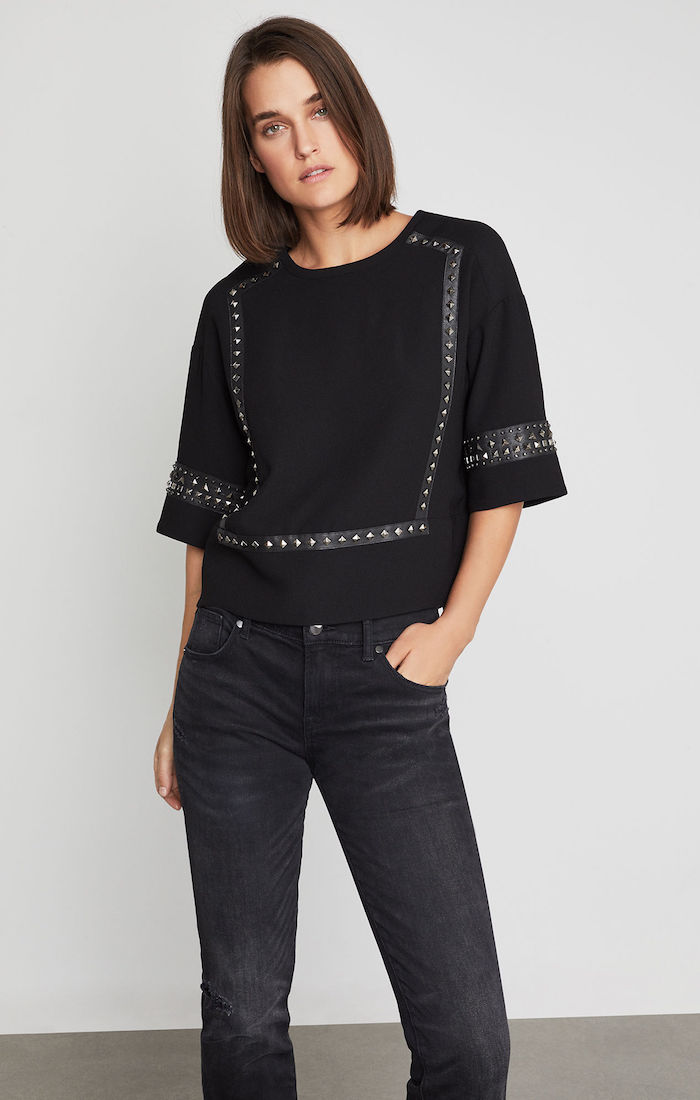 BCBGMAXAZRIA: Faux Leather-Trimmed Studded Blouse